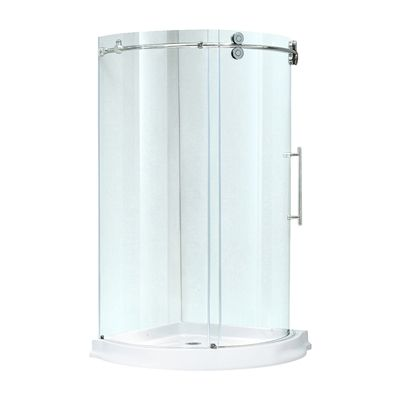 Vigo Frameless Round Clear Shower Enclosure Sale U0026 Deals Base:With Base,  Door:Right Sided, Size W X L, Finish Options:Chrome Make Your Bathroom An  Oasis ...