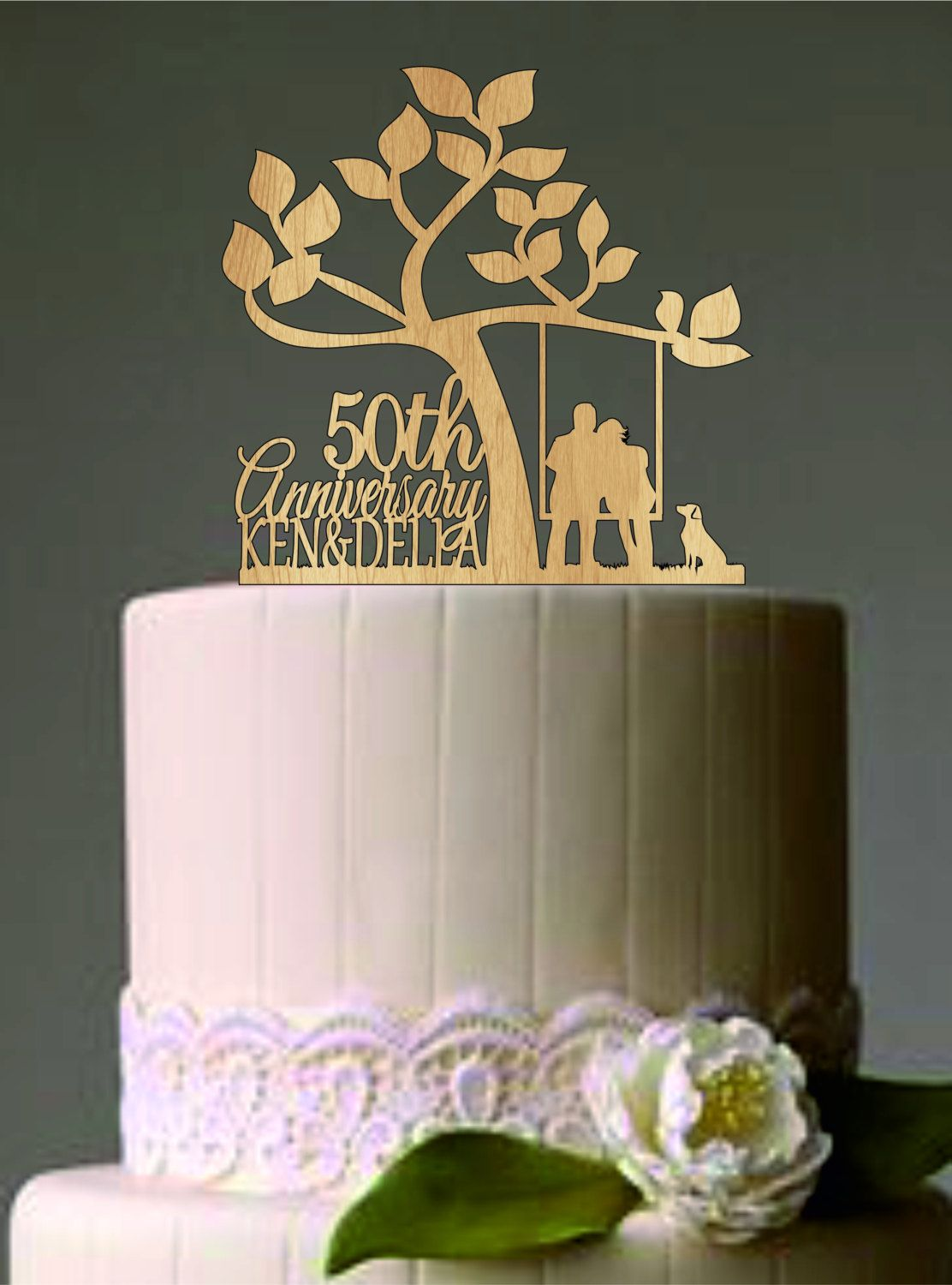 Happy 50 th anniversary cake topper,Wedding Couple in a ...