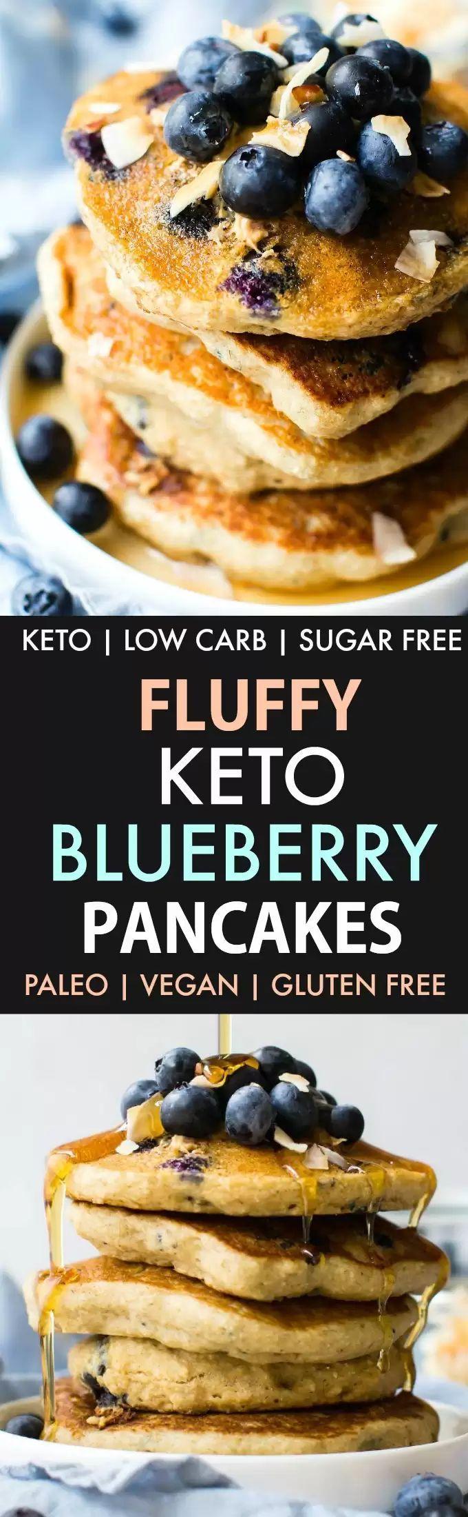 Fluffy Low Carb Keto Blueberry Pancakes (Paleo, Vegan, Flourless)- Thick and flu...  - Keto -