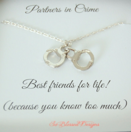 valentine bff gifts for her partners in crime best friends for life handcuff necklace by