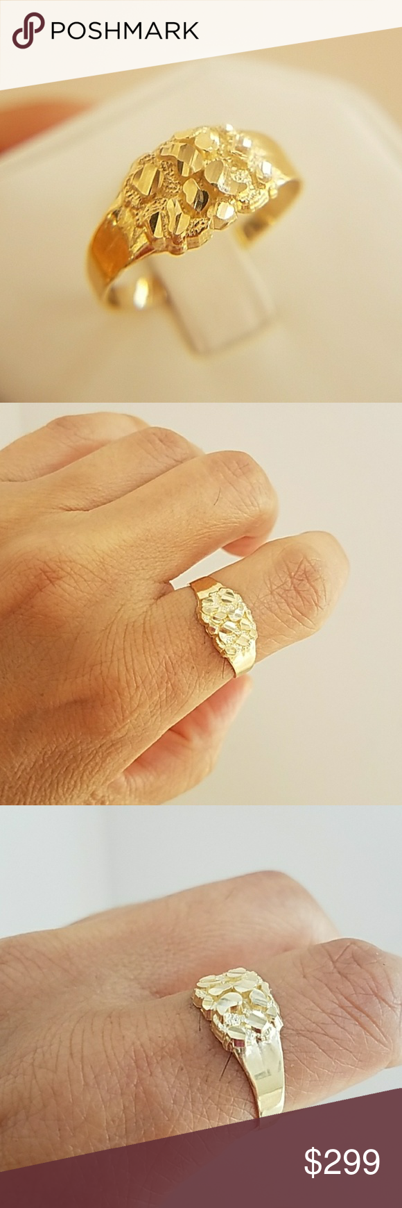 10k Solid Yellow Gold Nugget Halo Nugget Ring Gold Nugget Ring Gold Nugget Jewelry