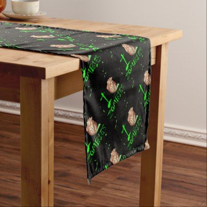 Spooky Halloween Undead Zombie Apocalypse Party Short Table Runner | Zazzle.com #zombieapocalypseparty