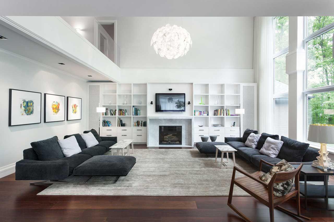 Modern family living room modern living room white walls charcoal floor  google search