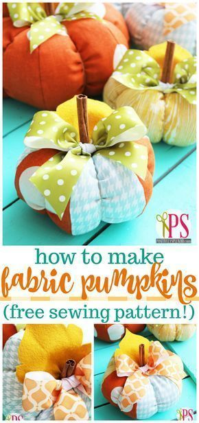 DIY Fabric Pumpkin Pattern -- A fun and easy fall decor project! #beginnersewingprojects