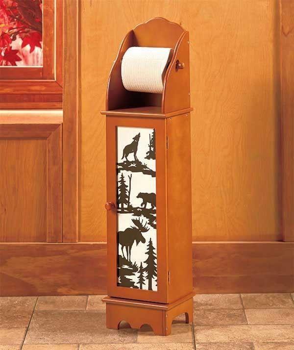 details about northwoods wildlife bear moose lodge wooden toilet paper holder storage cabinet. Black Bedroom Furniture Sets. Home Design Ideas