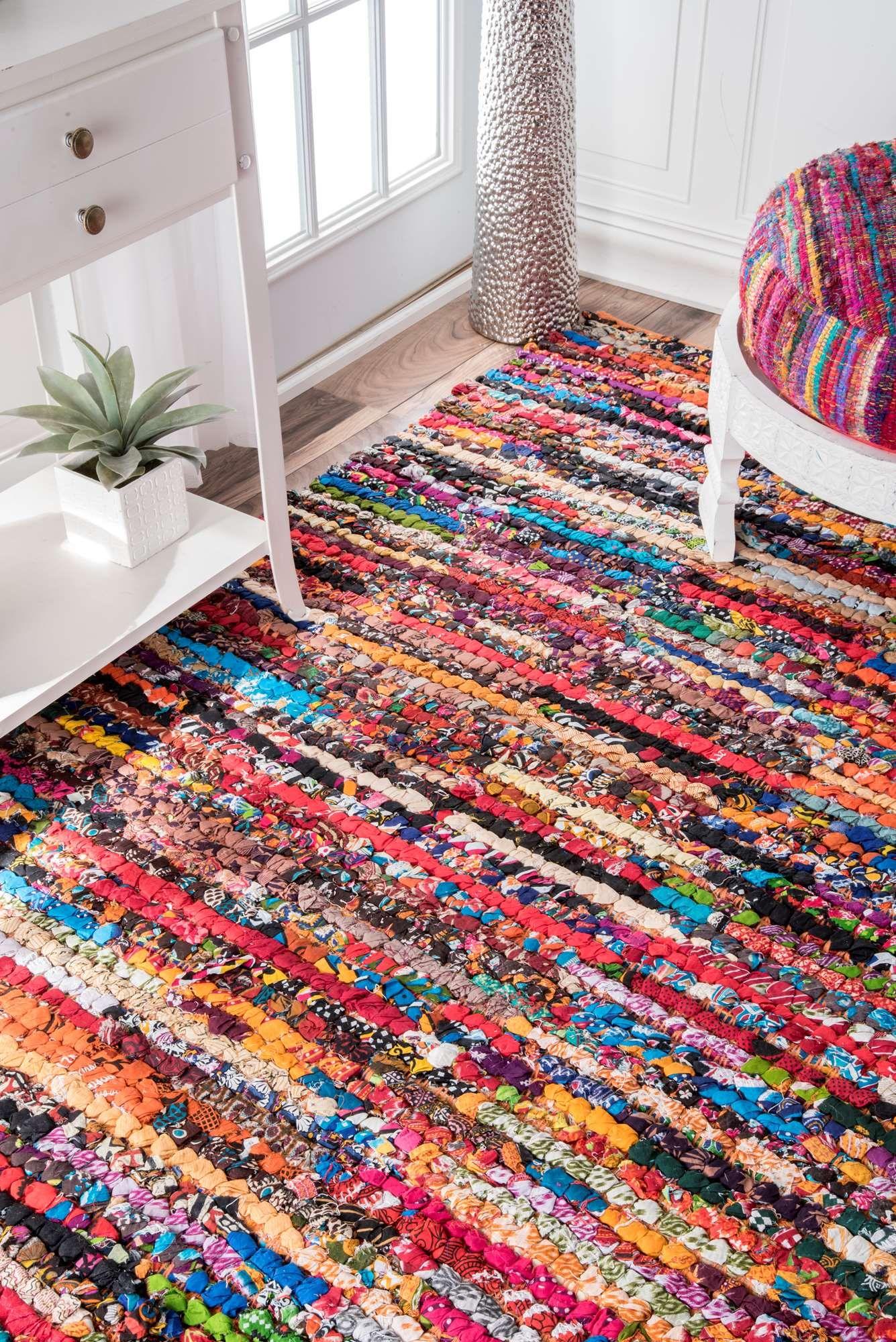 Chindinm06 Braided Cotton Pinstripes Rag Rug