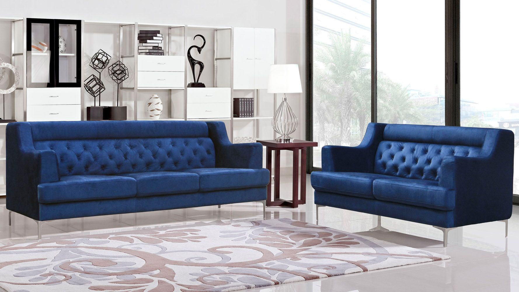 Best Zara Fabric Tufted Sofa With Chrome Legs Navy Blue 400 x 300