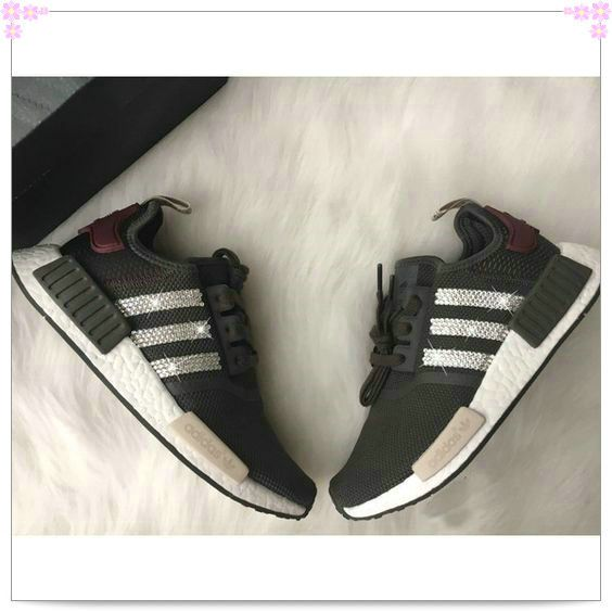 9ba9ed92d87621 Over 70% Discount Off Olive Swarovski Adidas Nmd Runner Casual Shoes  Swarovski Crystal Shoes Military green shoes