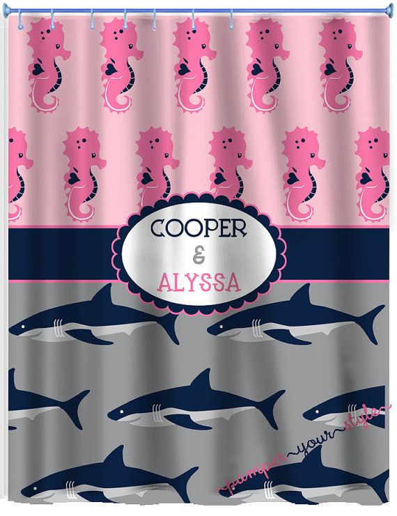 Seahorse And Shark Shower Curtain Personalized Sibling Shower