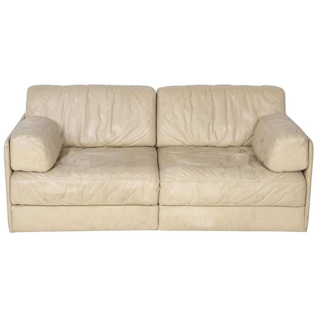 Tremendous Rare Off White De Sede Ds 76 Sectional Two Seat Sofa Bed Caraccident5 Cool Chair Designs And Ideas Caraccident5Info