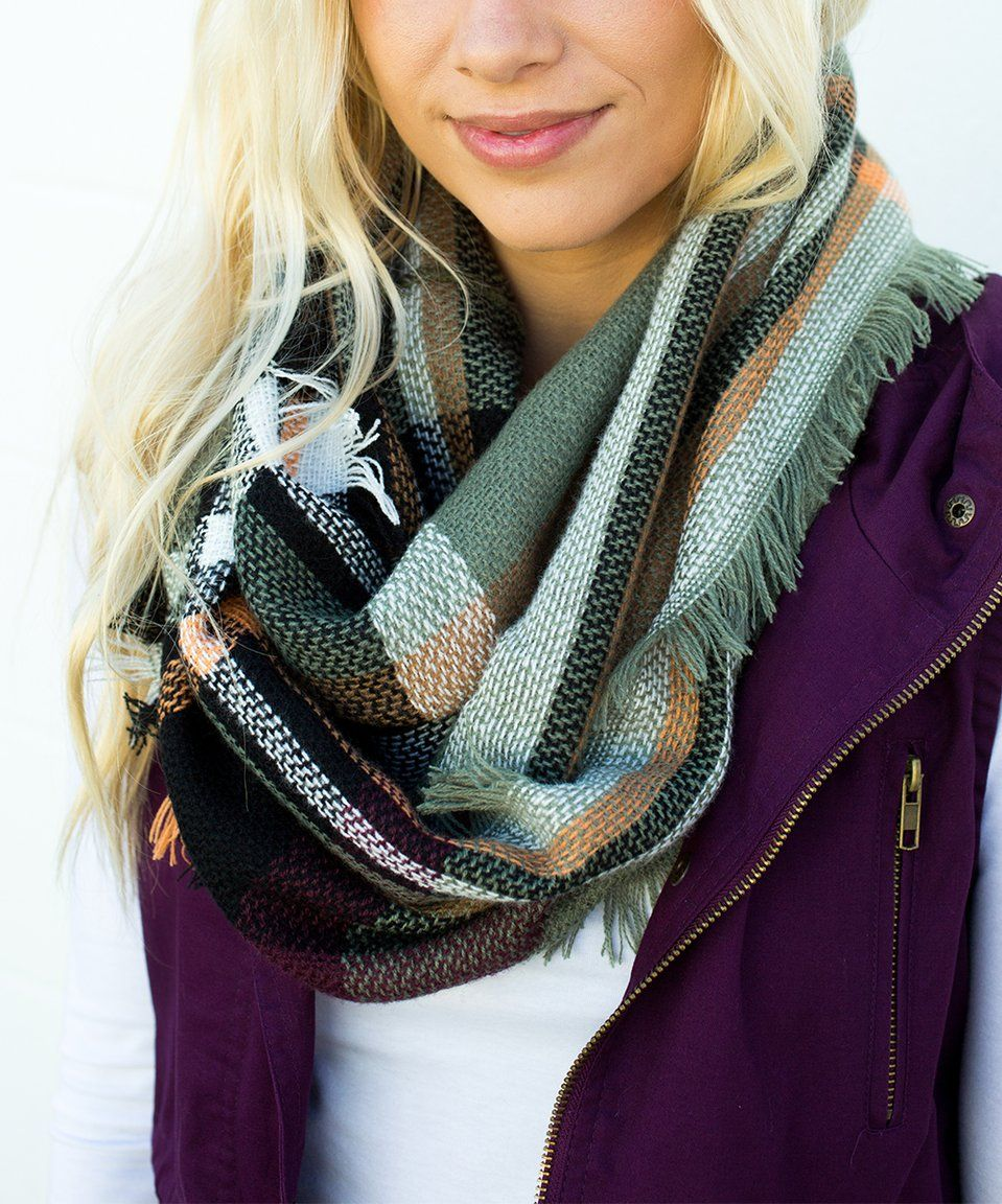 Take a look at this Olive Plaid Infinity Scarf Women