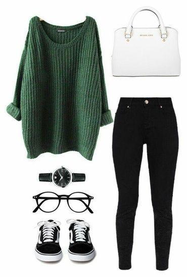 New Funny School FALL FASHION TRENDS! Grüner Zopfmusterpullover, schwarze, hoch taillierte Röhrenjeans, … - Suzy's Fashion FALL FASHION TRENDS! Grüner Zopfmusterpullover, schwarze, hoch taillierte Röhrenjeans, … 1