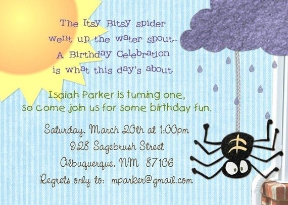 The Itsy Bitsy Spider Went Up Water Spout A Birthday Celebration Is What This Days About Party Invitation Invite For