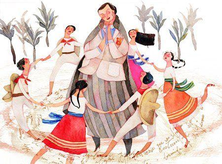 """Gabriela Mistral le canta a la Primavera: Ilustración de Isabel Hojas para el libro """"Gabriela, la poeta viajera"""""""