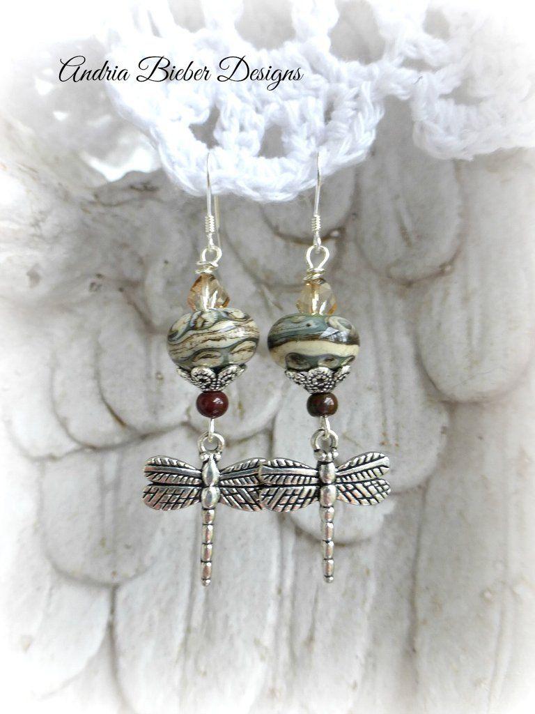 Sterling Silver  Earrings with Glass Lampwork beads and Feather Charms,Sterling Silver Earrings Handmade Silver Earrings