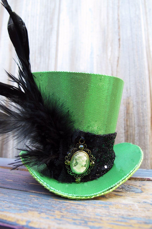 36dd56b8 Tiny Top Hat / Mini Top Hat / Shiny Green with Cameo. $50.00, via Etsy.