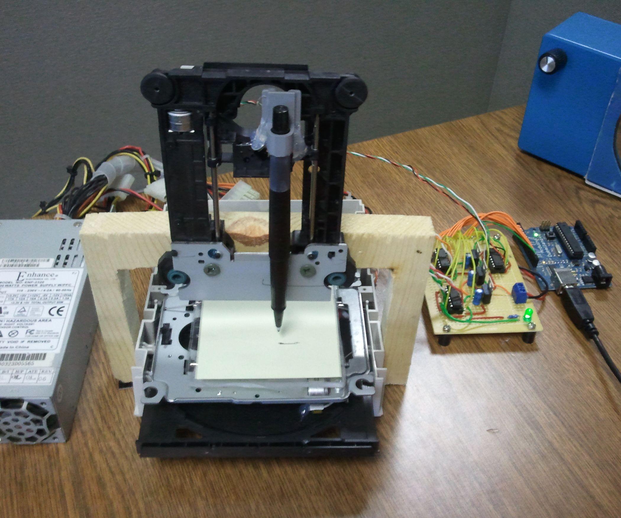 Cheap Arduino Controlled 3 Axis Pen Plotter Arduino And