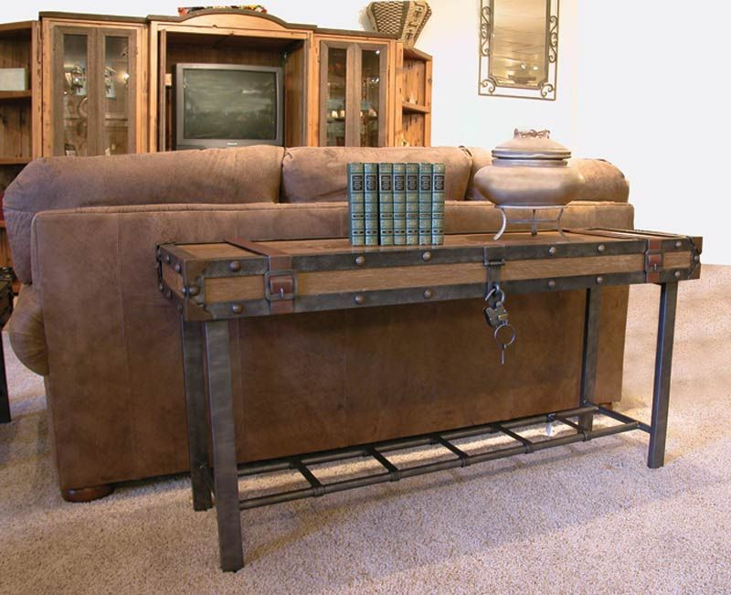 rustic hardware sofa table |  tables & chest › hall table
