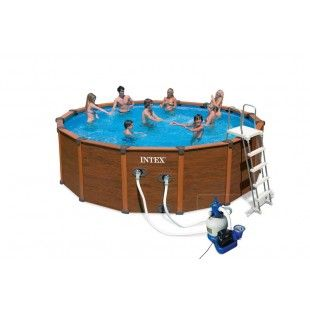 Elegant Piscine Aspect Bois Sequoia Spirit 4.78 X 1.24 M   INTEX Images Etonnantes
