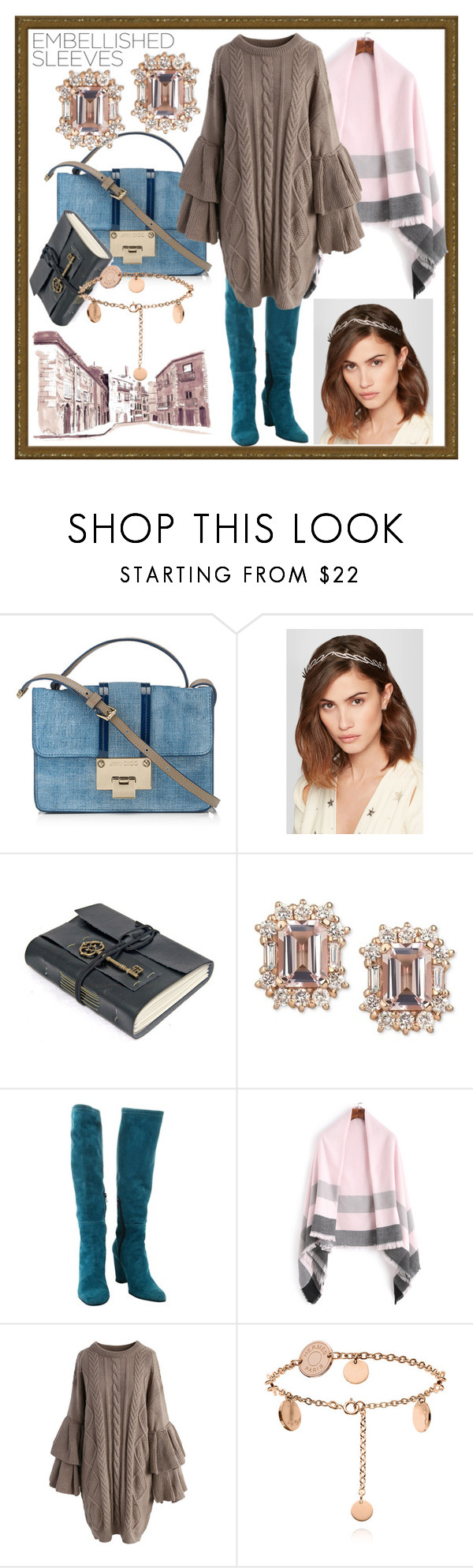 """""""l'artiste"""" by angelasauntie ❤ liked on Polyvore featuring Jimmy Choo, Jennifer Behr, Hogan, Chicwish and embellishedsleeves"""