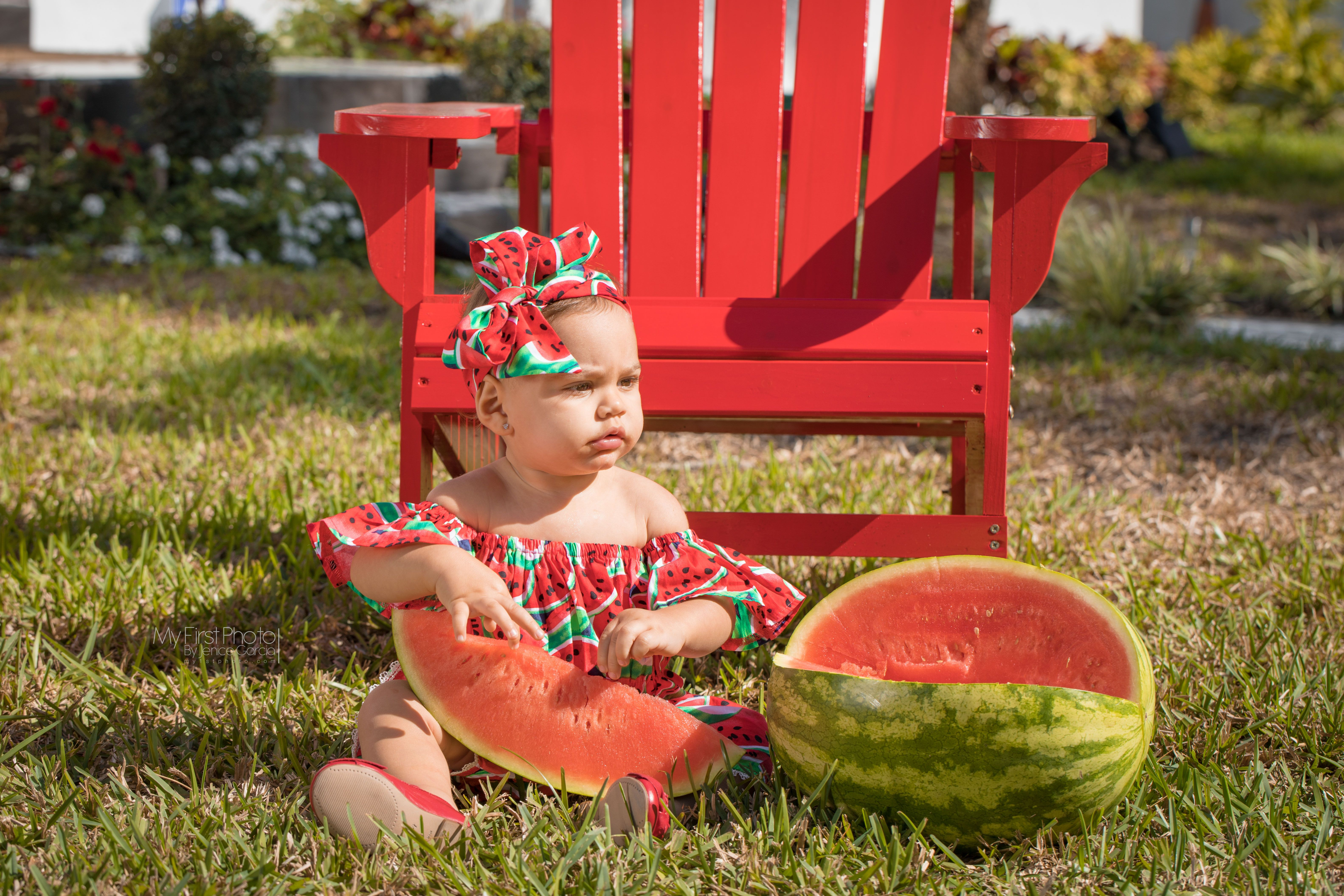 ac674d00c Victoria ❤ Watermelon outfit baby photography photoshoot 1 year old baby  girl
