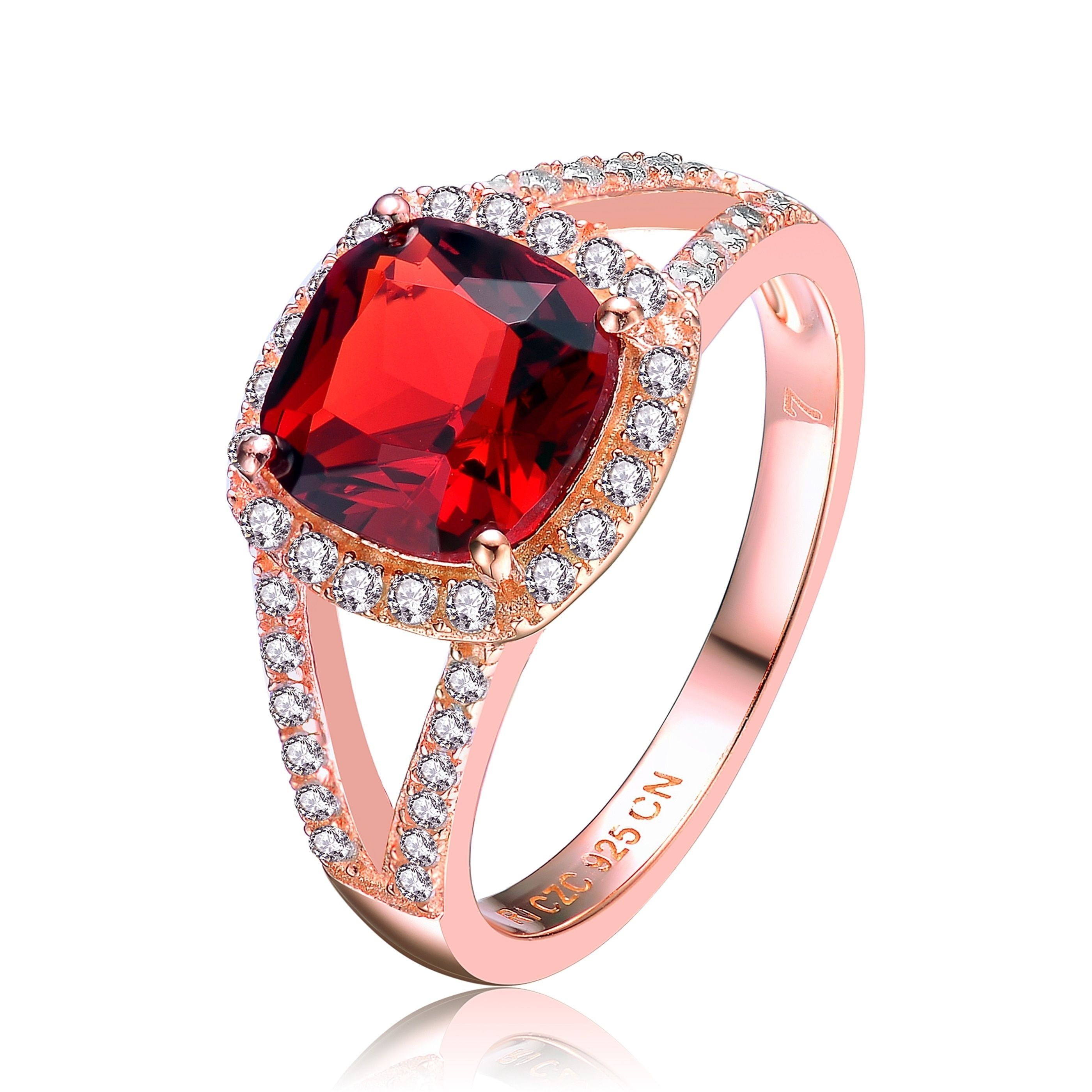 Collette Z Rose Gold Overlay Red Cubic Zirconia Statement Ring Size 6 (Size 8), Women's