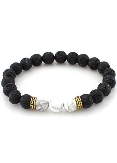 c6f70cdd76c9e Bead Decorated Lava Stone Black and White Bracelet