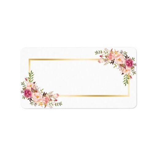 Blank Version Elegant Chic Gold White Pink Floral Label Zazzle Com Pink Floral Decor Flower Frame Floral Border Design
