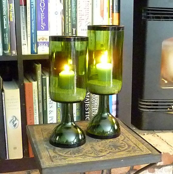 Upcycled wine bottle candle holders i pinned from etsy for How to make candle holders out of wine bottles