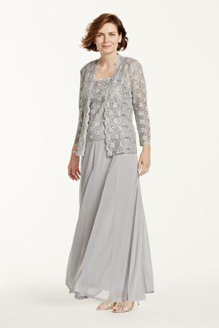 Two Piece Lace And Chiffon Jacket Dress Style 3174db