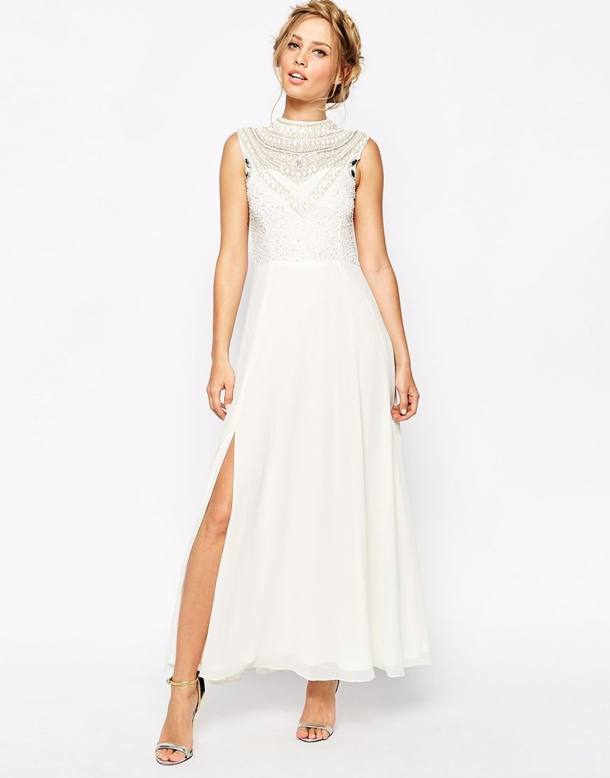 Frock and Frill Embellished Maxi Dress With Thigh Split | Frocks ...