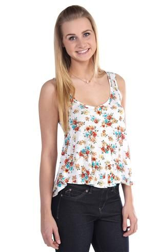 flowy slight high low button front floral print tank top