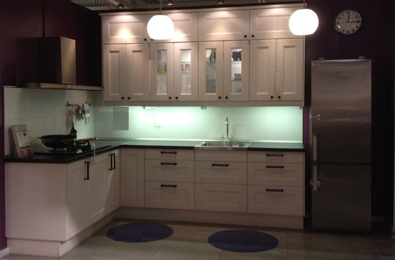 L Shaped White Color Kitchen Cabinet