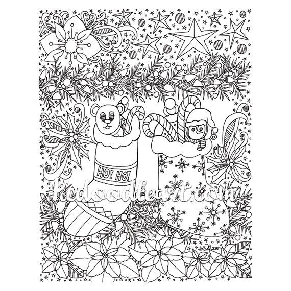 Instant Digital Download Christmas Coloring Page