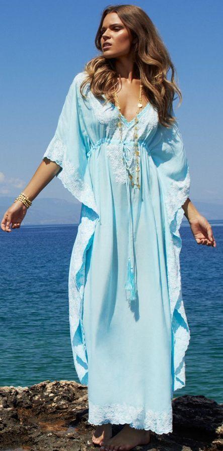 01bb0b1d2f Light Blue Embroidered Maxi Kaftan | Beautiful Beachwear ...