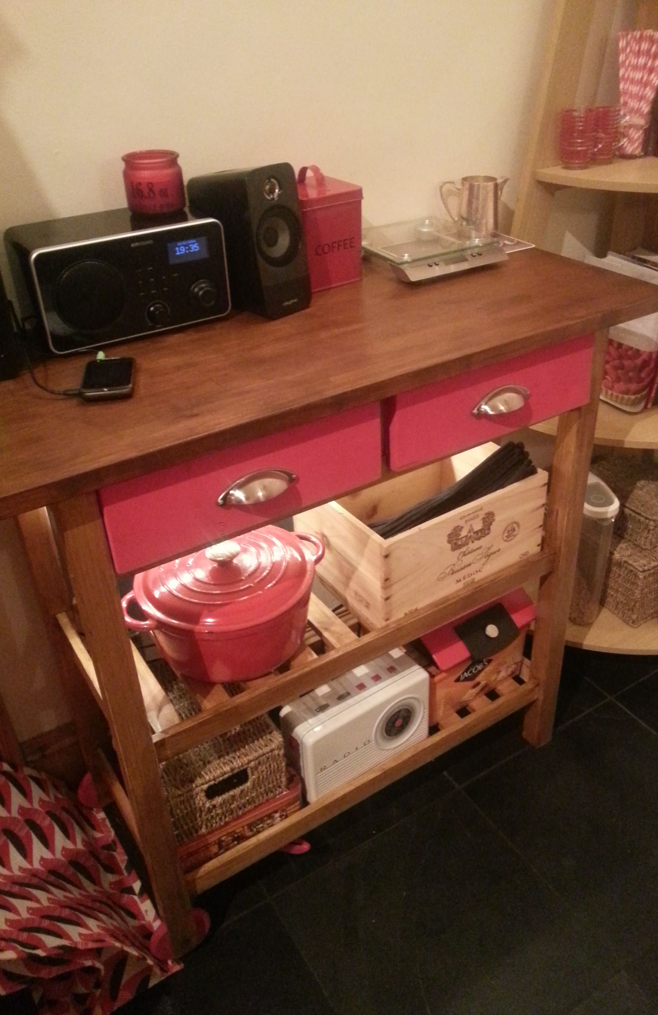 Upcycled Ikea butcher's block - inspired by: http://www.ikeahackers.net/2012/08/forhoja-kitchen-cart-with-wine-crate-fronts.html