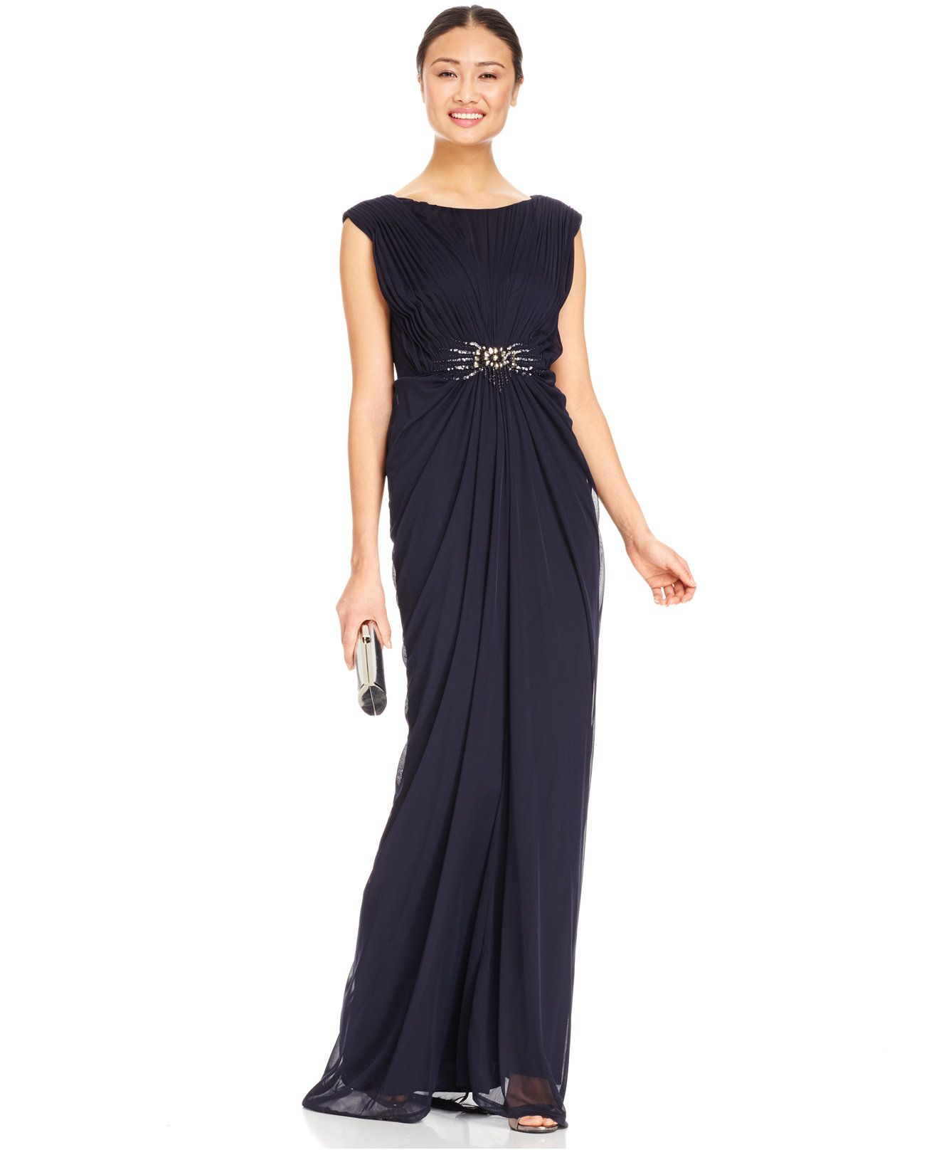 Adrianna Papell Embellished Shirred Jersey Gown - Dresses - Women ...