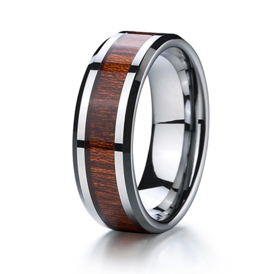 Anium Wood Ring Wedding Band Men Jewelry Free Shipping Clic 8mm Usa Design Anillos