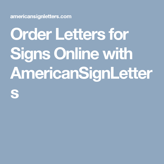 Order Letters For Signs Online With Americansignletters  Sign