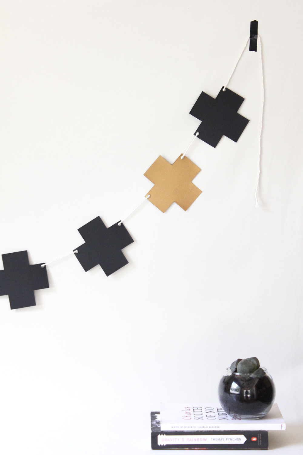 Black and Gold Cross + Plus Garland