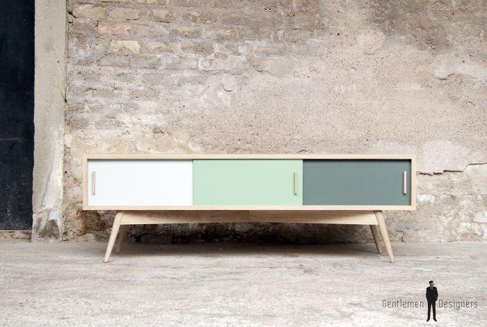 creation meuble tv chne refmtv 07 sur mesure esprit vintage - Fabriquer Un Meuble Tv Bas