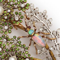1STDIBS.COM Jewelry & Watches - Antique Demantoid Garnet and Diamond Spray with Opal Bug Brooch - A La Vieille Russie