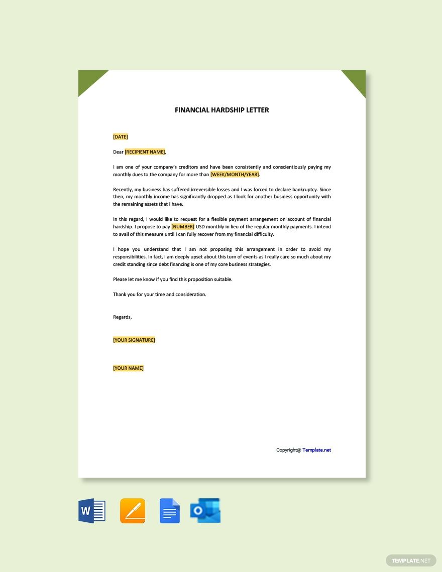 16++ Medical financial hardship letter template ideas