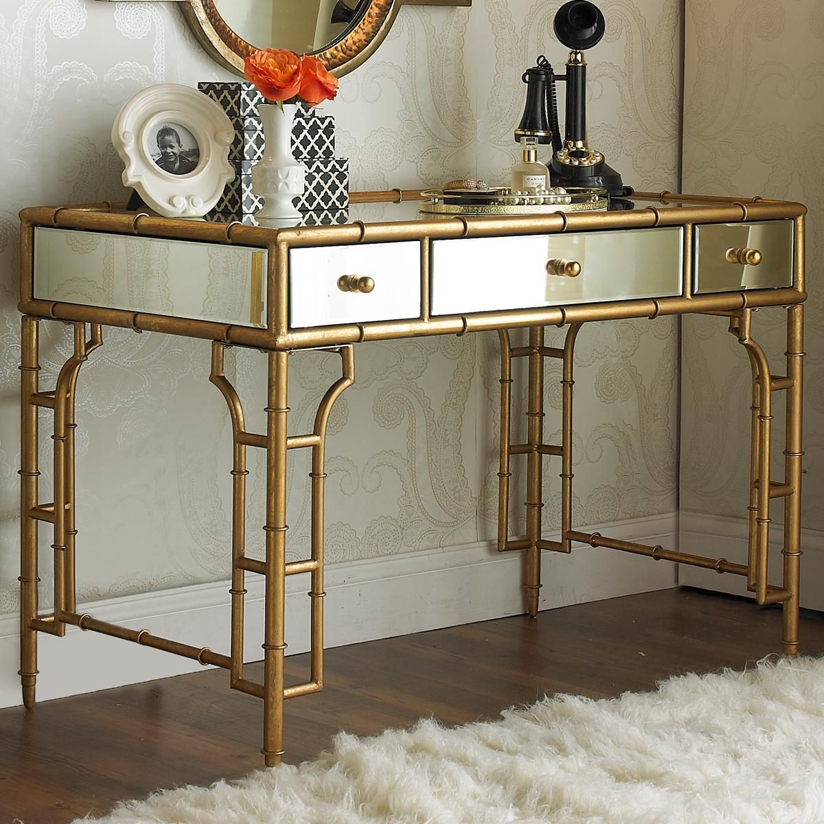 Gold Bamboo And Mirror Vanity Desk More Mirror Glass Vanities And Glasses