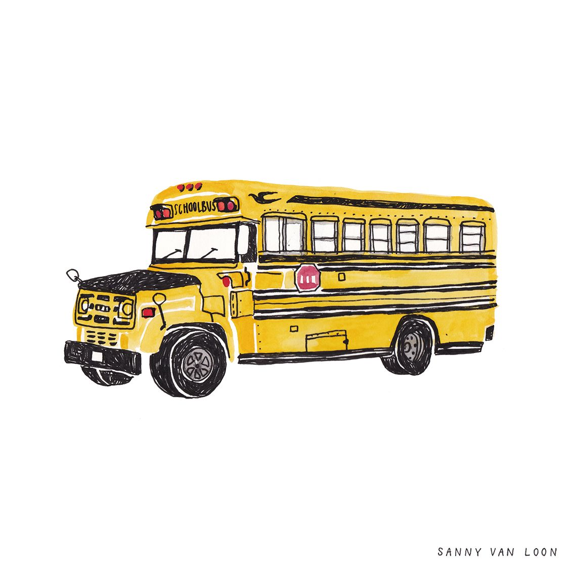 Vintage School Bus Illustration By Sanny Van Loon With Images