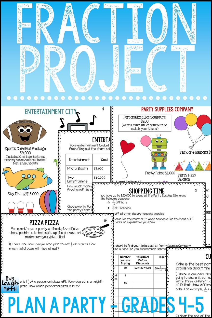 Fraction Project | Project based learning, Learning and Math