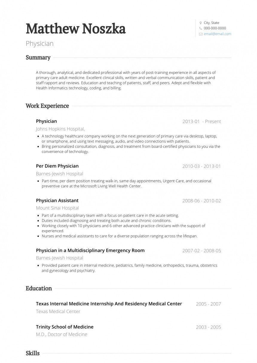 Physician Assistant Resume Examples Cv Examples Doctor Customer Service Resume Resume Examples Resume Template Examples