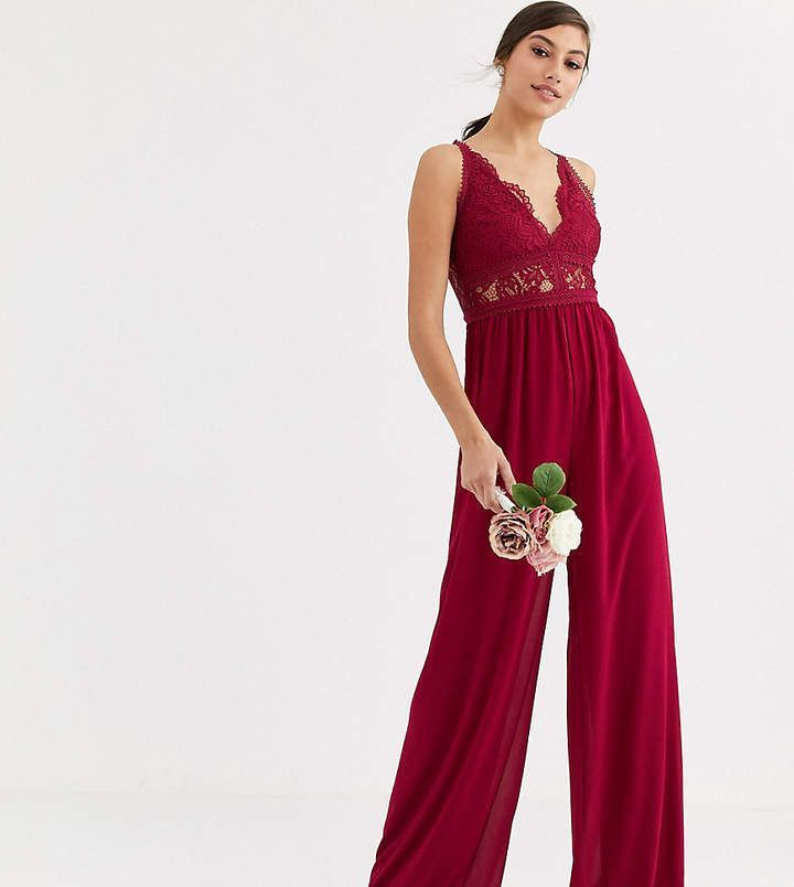 TFNC Tall Bridesmaid jumpsuit with lace inserts in mulberry #bridesmaidjumpsuits Tfnc Tall TFNC Tall Bridesmaid jumpsuit with lace inserts in mulberry #bridesmaidjumpsuits