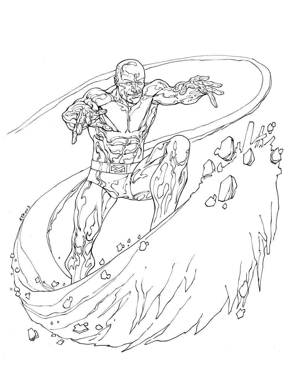 Printable Coloring Pages Iceman Superheroes
