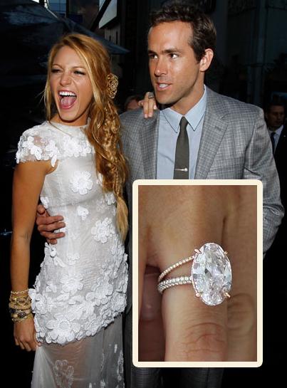 Blake Lively's engagement ring light pink, oval diamond